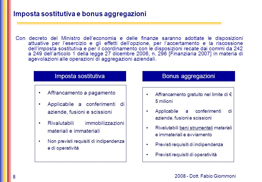Imposta sostitutiva e bonus aggregazioni
