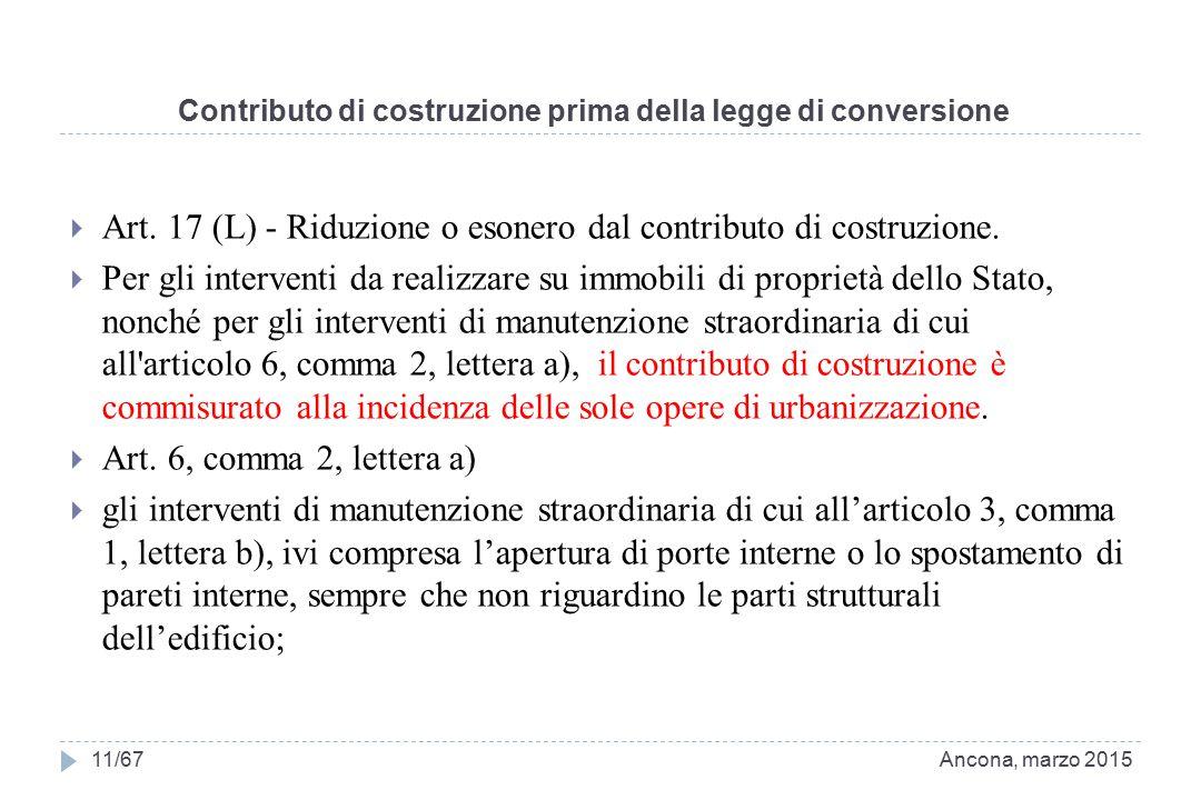 Contributo di costruzione prima della legge di conversione