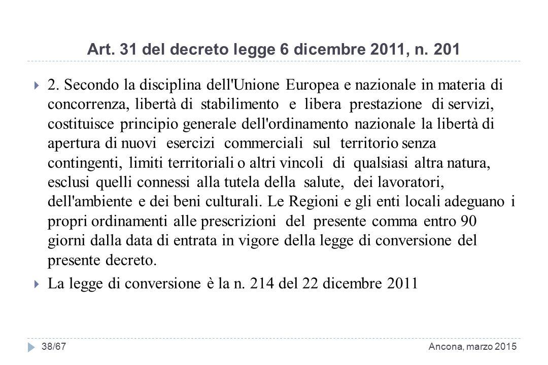 Art. 31 del decreto legge 6 dicembre 2011, n. 201