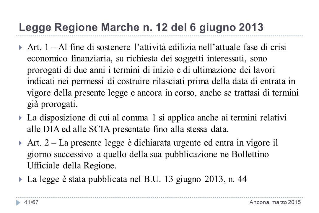 Legge Regione Marche n. 12 del 6 giugno 2013