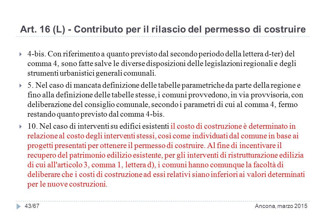 Art. 16 (L) - Contributo per il rilascio del permesso di costruire