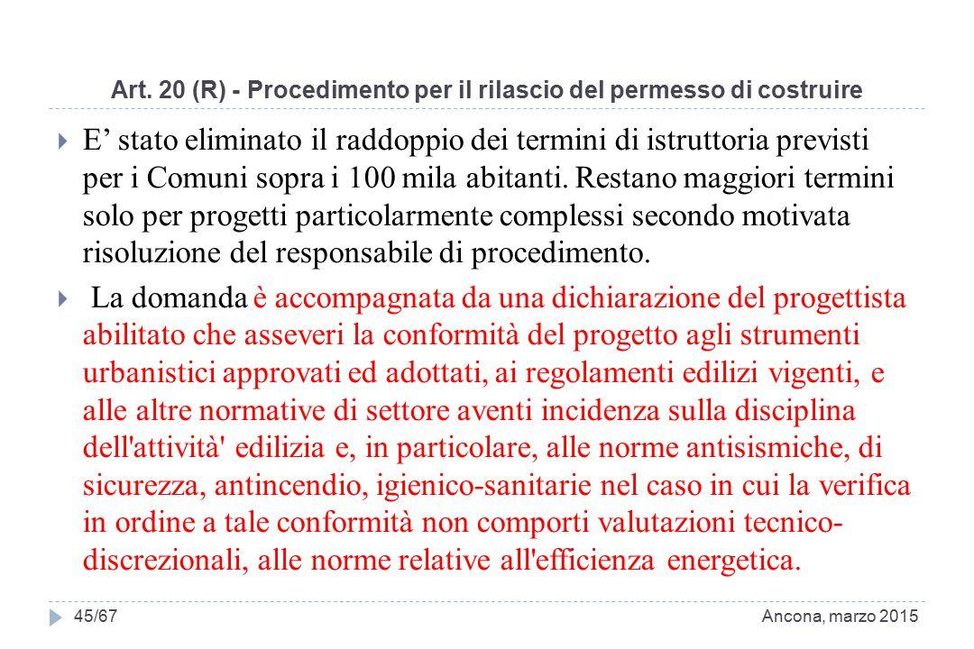 Art. 20 (R) - Procedimento per il rilascio del permesso di costruire