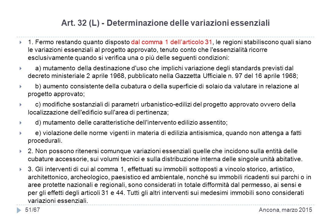Art. 32 (L) - Determinazione delle variazioni essenziali