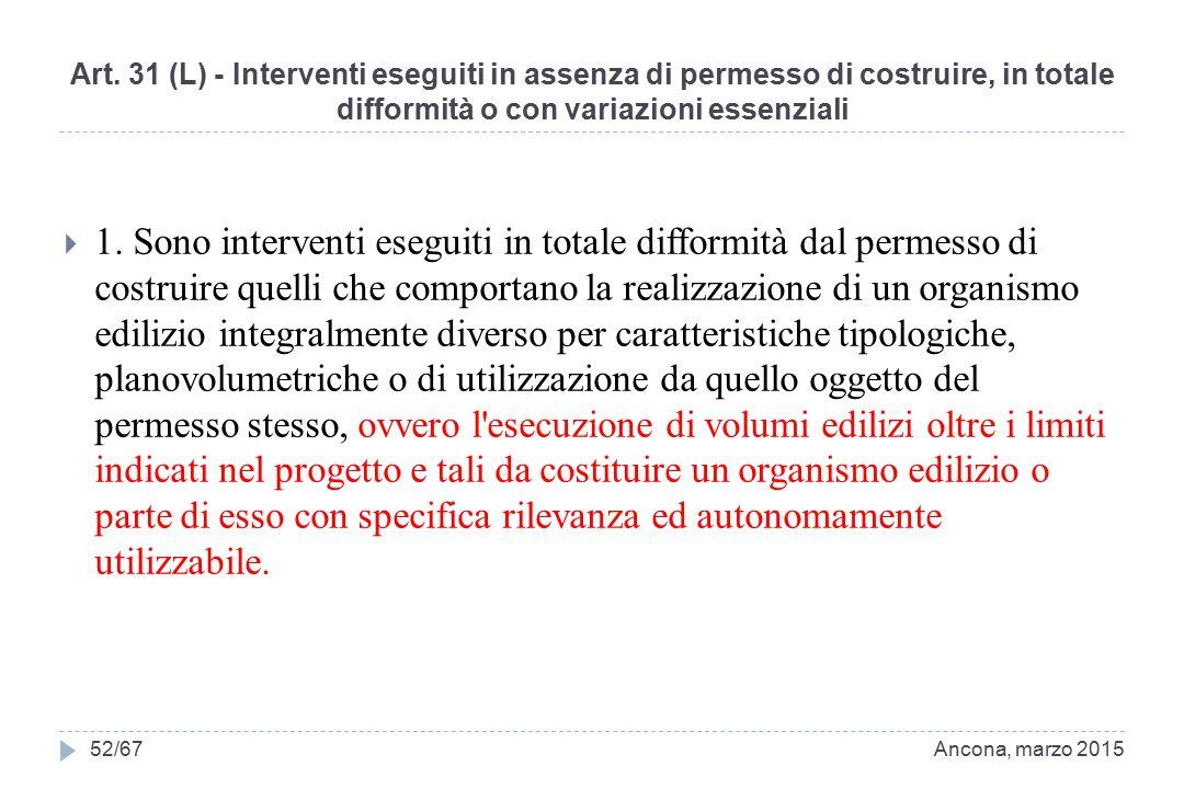 Art. 31 (L) - Interventi eseguiti in assenza di permesso di costruire, in totale difformità o con variazioni essenziali