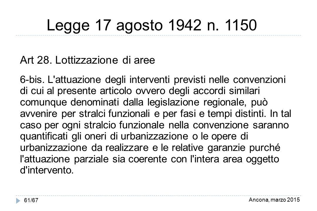 Legge 17 agosto 1942 n. 1150 Art 28. Lottizzazione di aree
