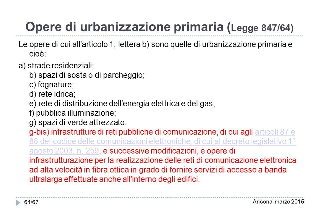 Opere di urbanizzazione primaria (Legge 847/64)
