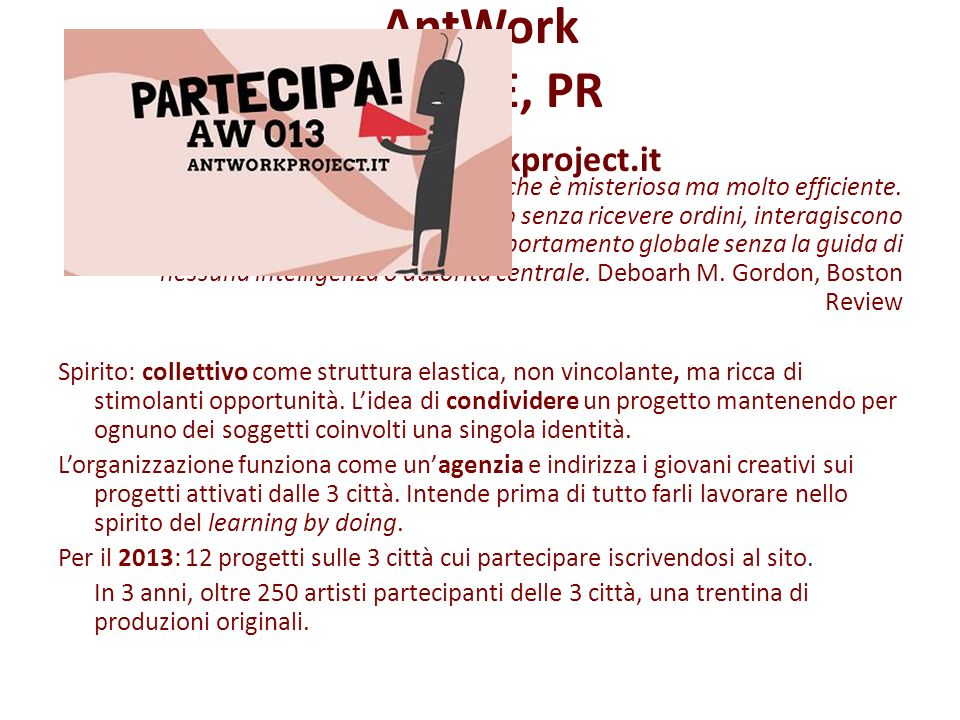 AntWork MO, RE, PR www.antworkproject.it