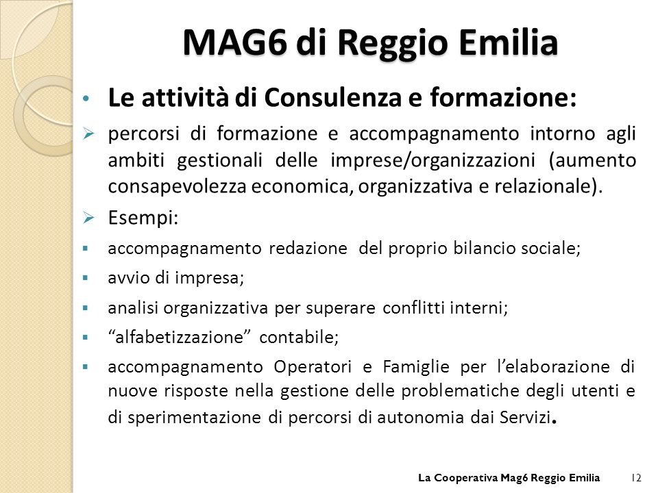 MAG6 di Reggio Emilia Le attività di Consulenza e formazione: