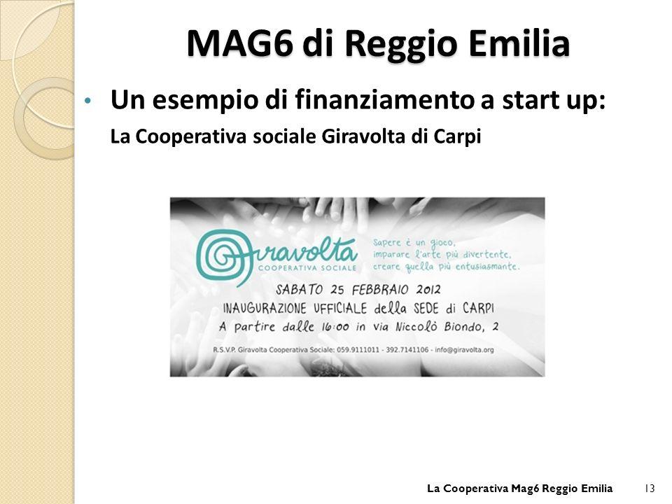 MAG6 di Reggio Emilia Un esempio di finanziamento a start up: