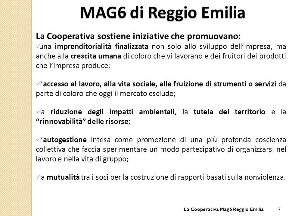 MAG6 di Reggio Emilia La Cooperativa sostiene iniziative che promuovano: