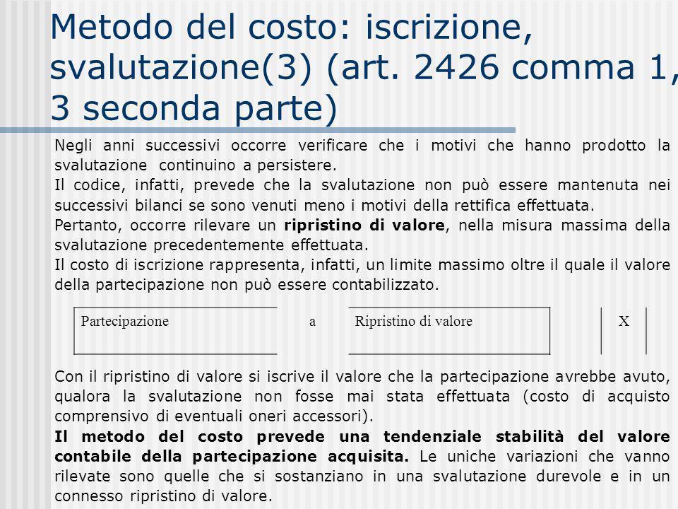 Metodo del costo: iscrizione, svalutazione(3) (art