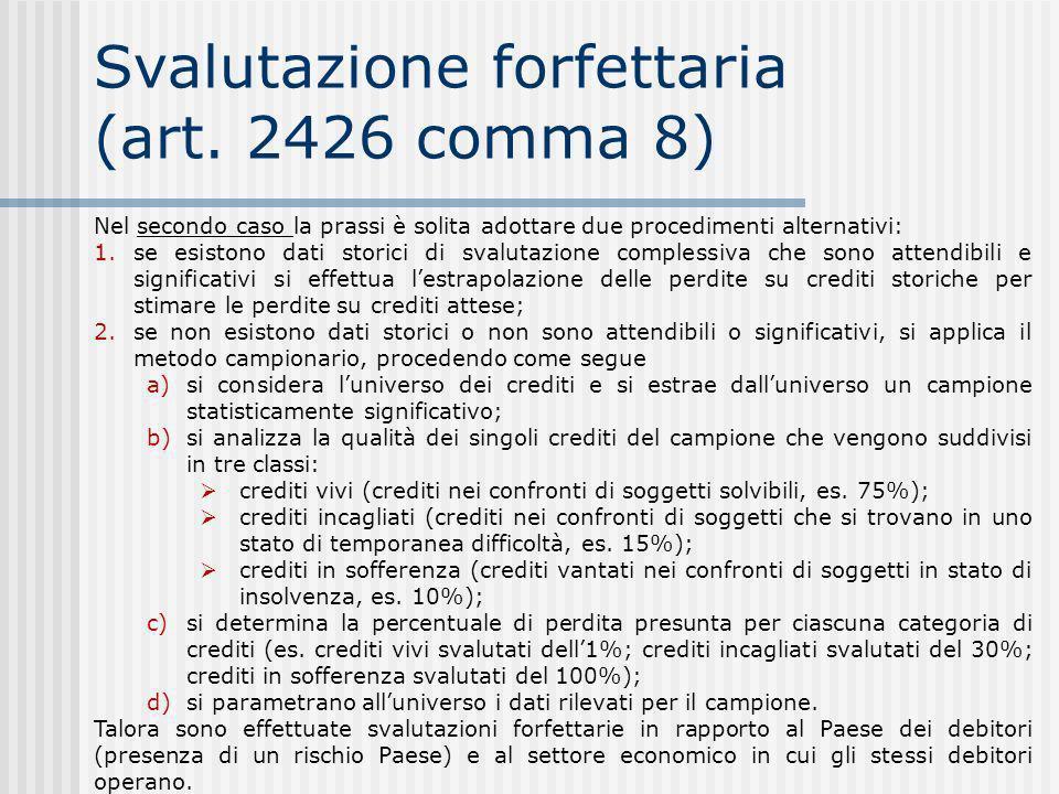 Svalutazione forfettaria (art. 2426 comma 8)