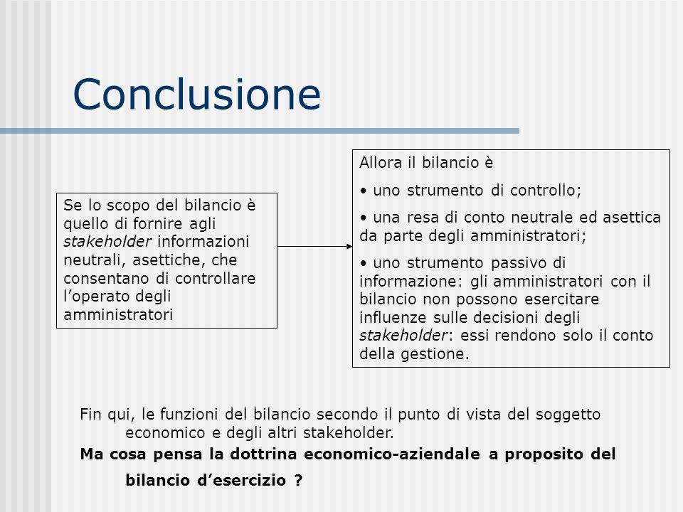 Conclusione Allora il bilancio è uno strumento di controllo;