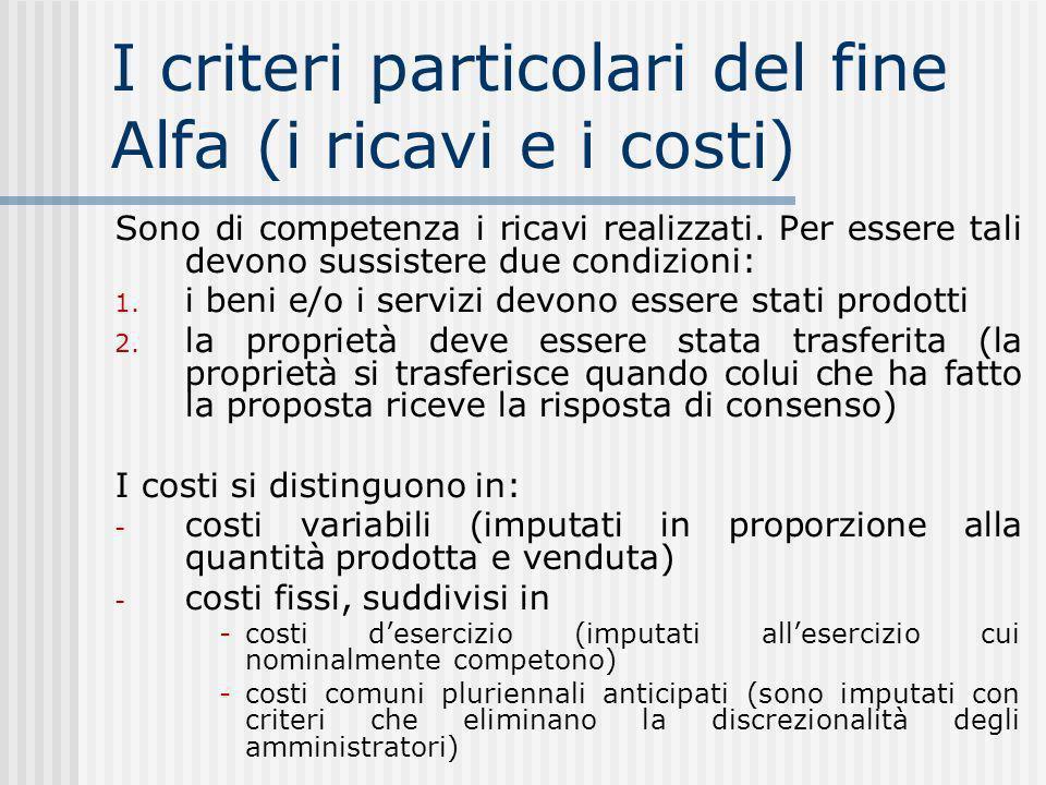 I criteri particolari del fine Alfa (i ricavi e i costi)