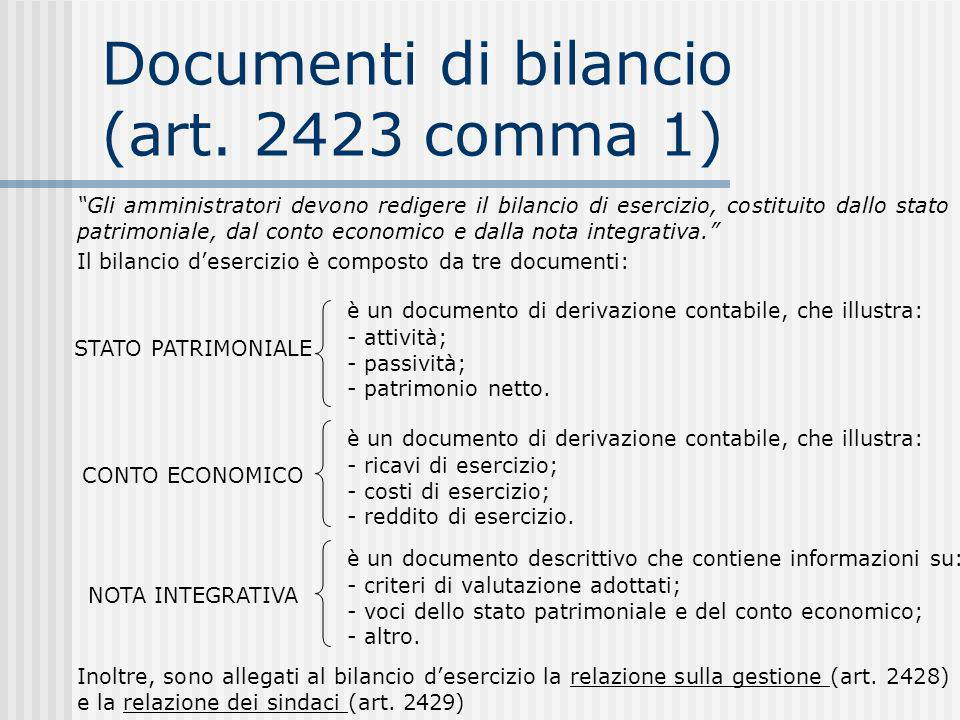 Documenti di bilancio (art. 2423 comma 1)