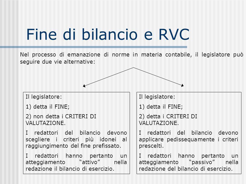 Fine di bilancio e RVC Nel processo di emanazione di norme in materia contabile, il legislatore può seguire due vie alternative: