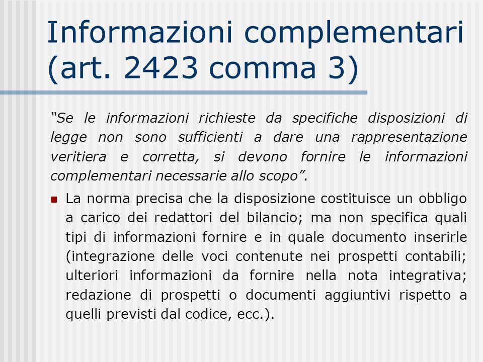 Informazioni complementari (art. 2423 comma 3)
