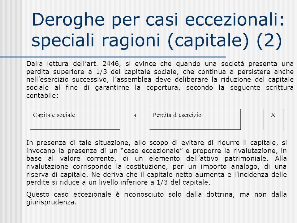 Deroghe per casi eccezionali: speciali ragioni (capitale) (2)
