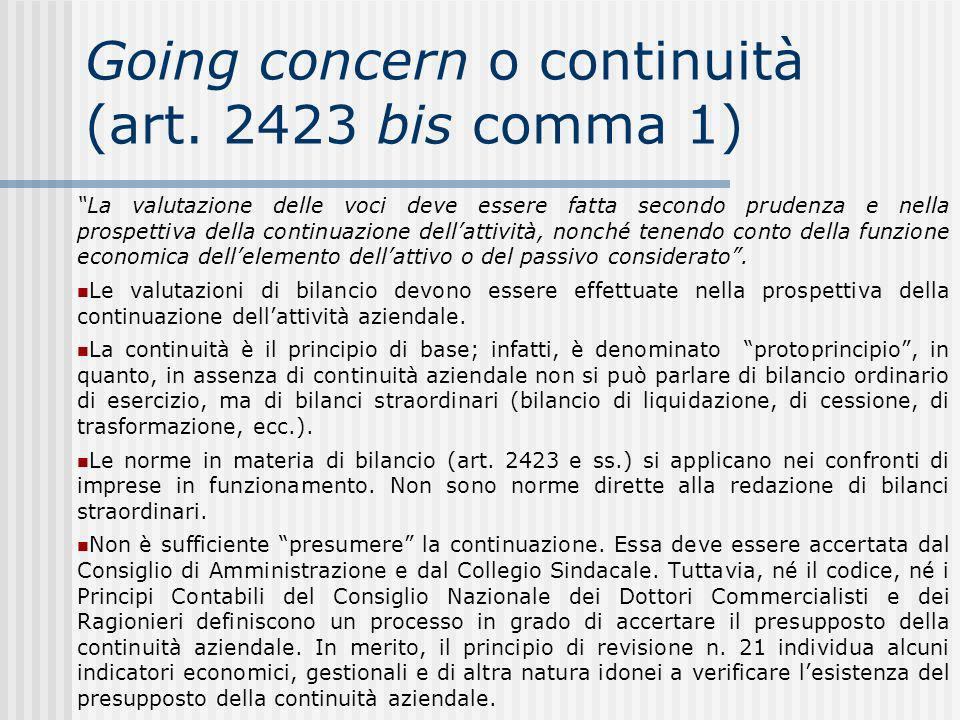 Going concern o continuità (art. 2423 bis comma 1)