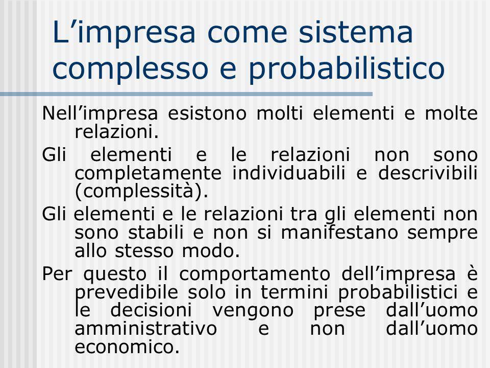 L'impresa come sistema complesso e probabilistico