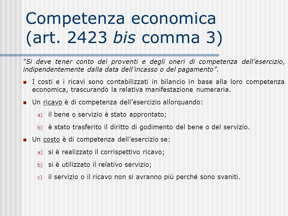 Competenza economica (art. 2423 bis comma 3)