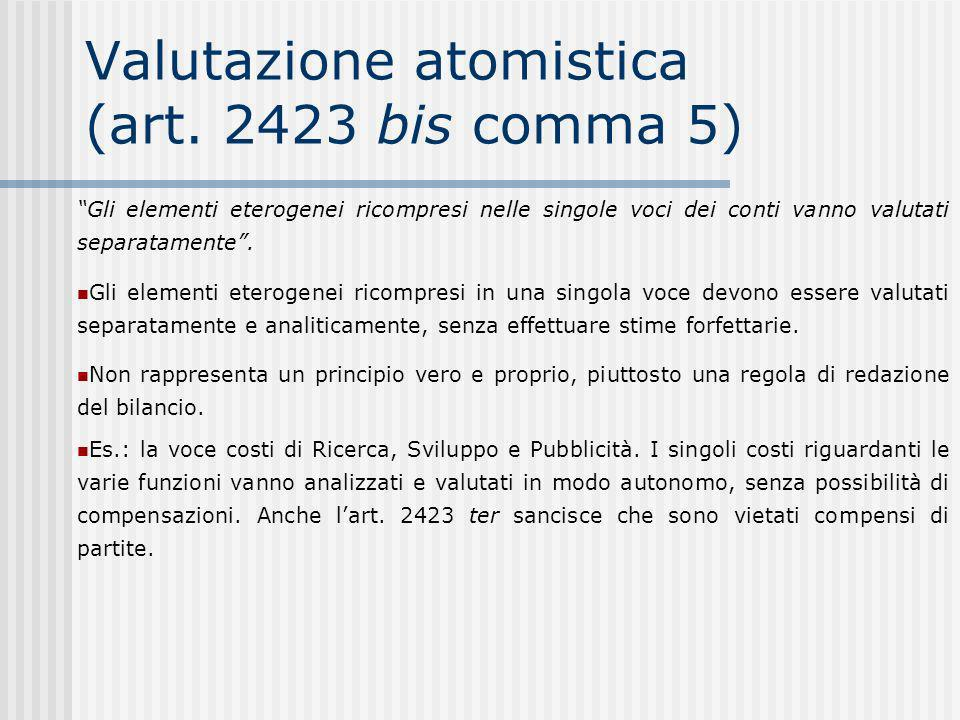 Valutazione atomistica (art. 2423 bis comma 5)