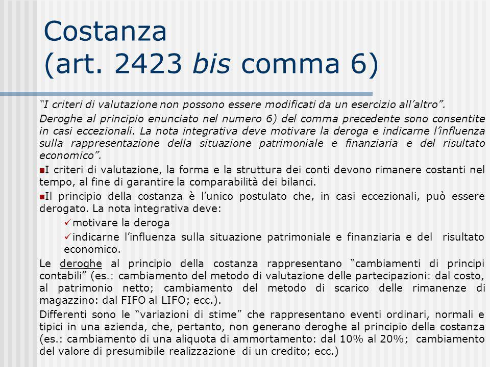 Costanza (art. 2423 bis comma 6)