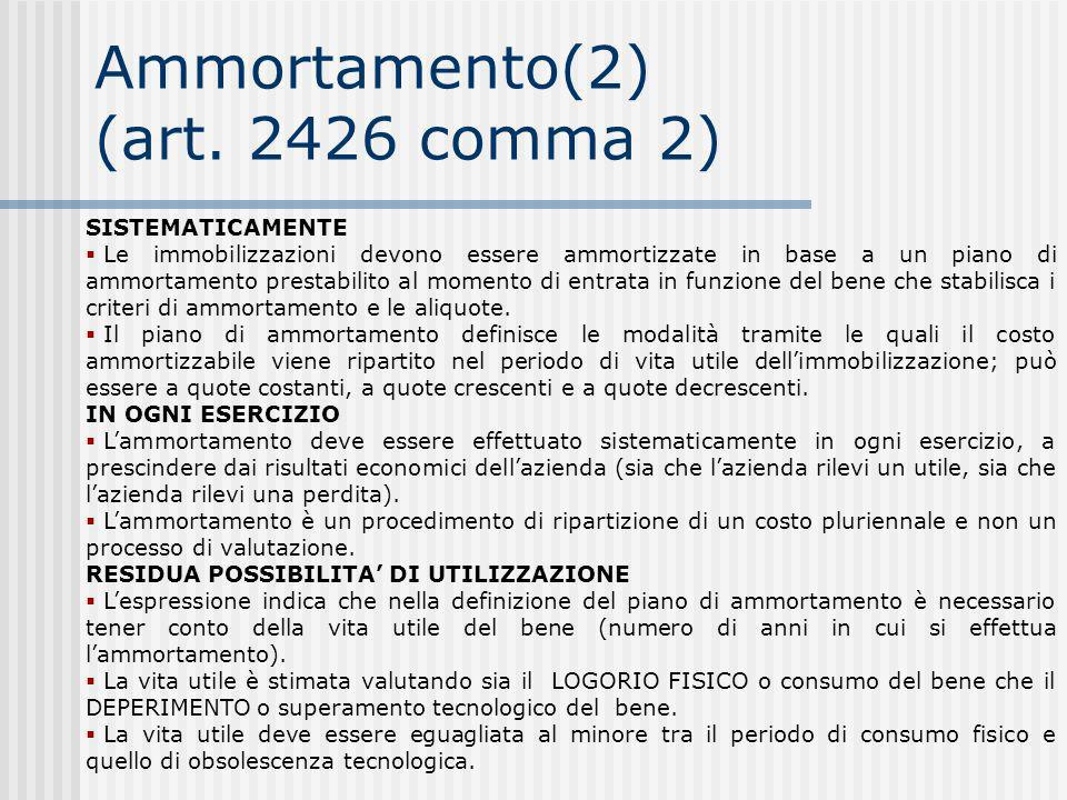 Ammortamento(2) (art. 2426 comma 2)