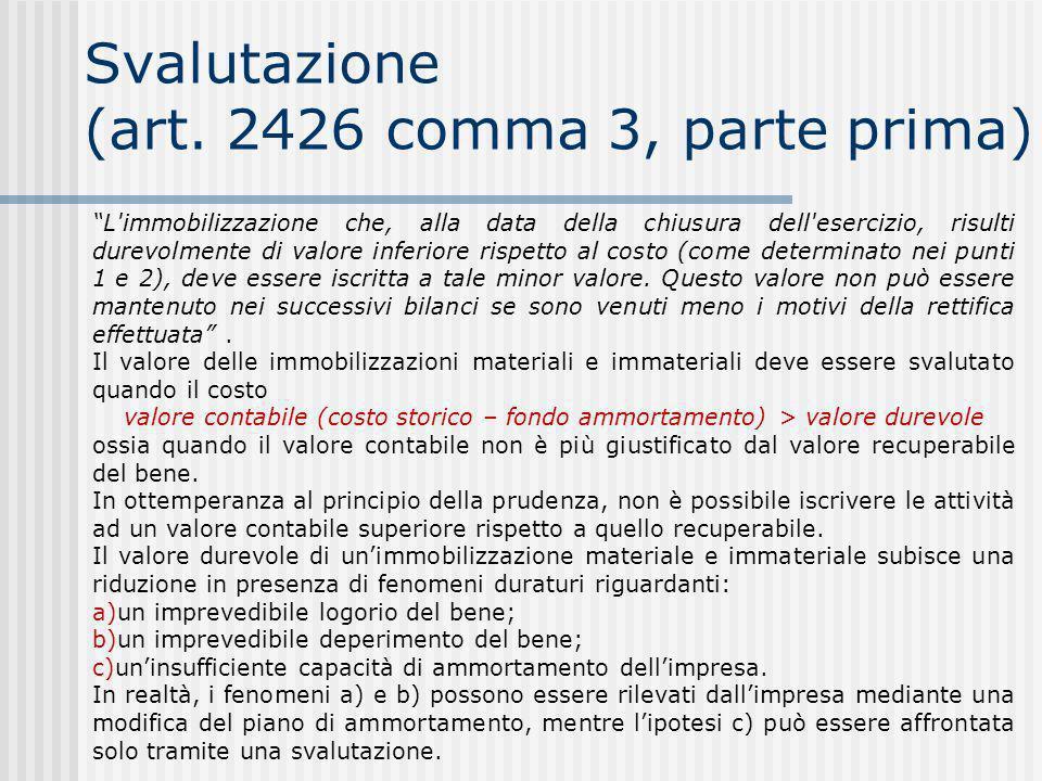 Svalutazione (art. 2426 comma 3, parte prima)