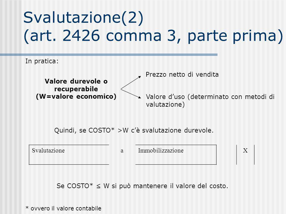 Svalutazione(2) (art. 2426 comma 3, parte prima)