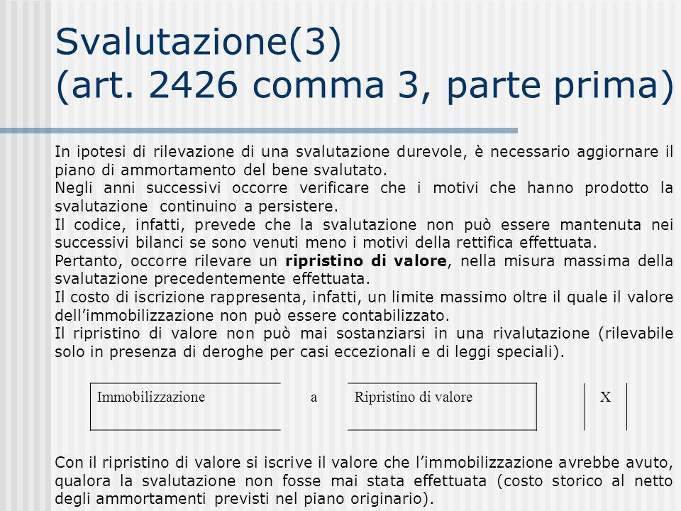 Svalutazione(3) (art. 2426 comma 3, parte prima)