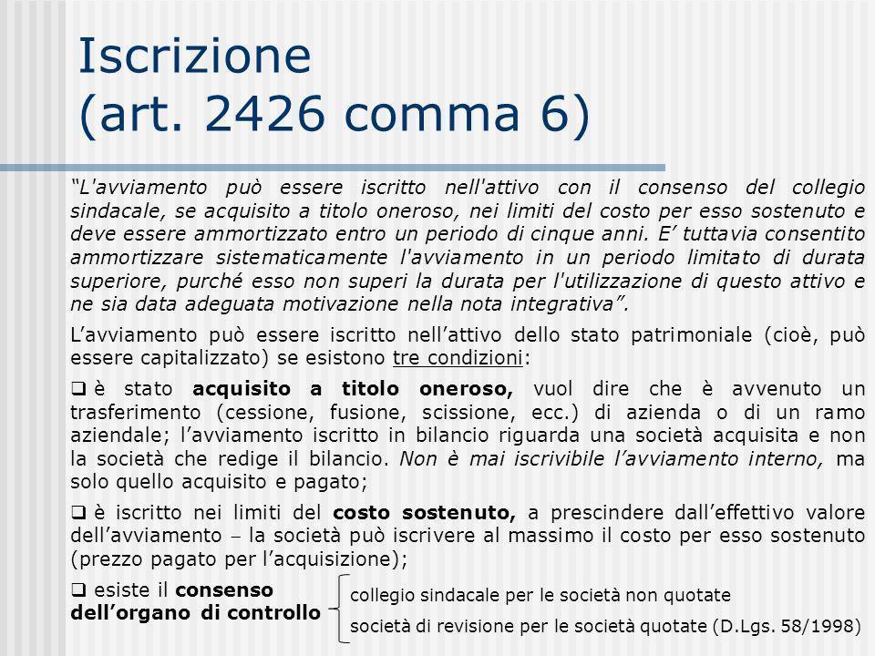 Iscrizione (art. 2426 comma 6)