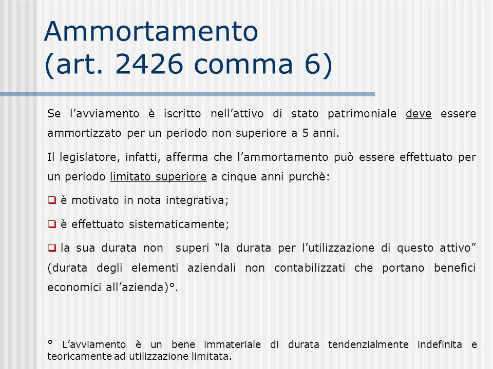 Ammortamento (art. 2426 comma 6)