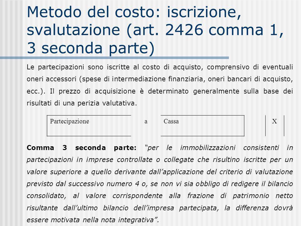Metodo del costo: iscrizione, svalutazione (art