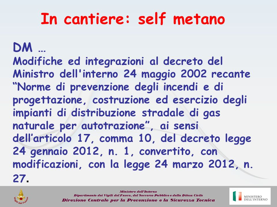 In cantiere: self metano