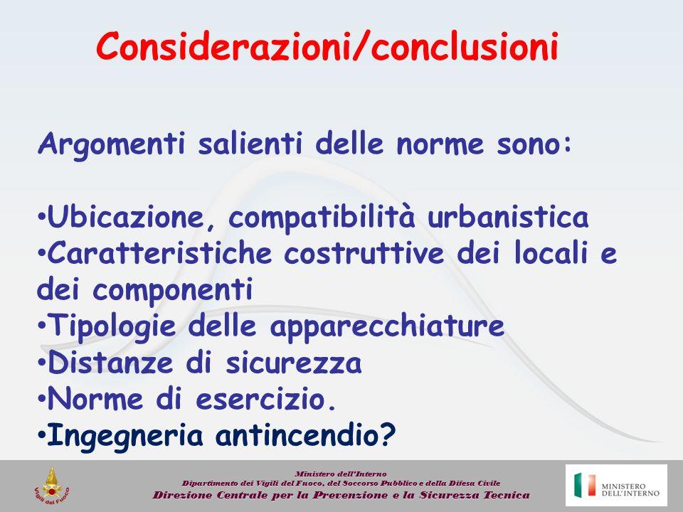 Considerazioni/conclusioni