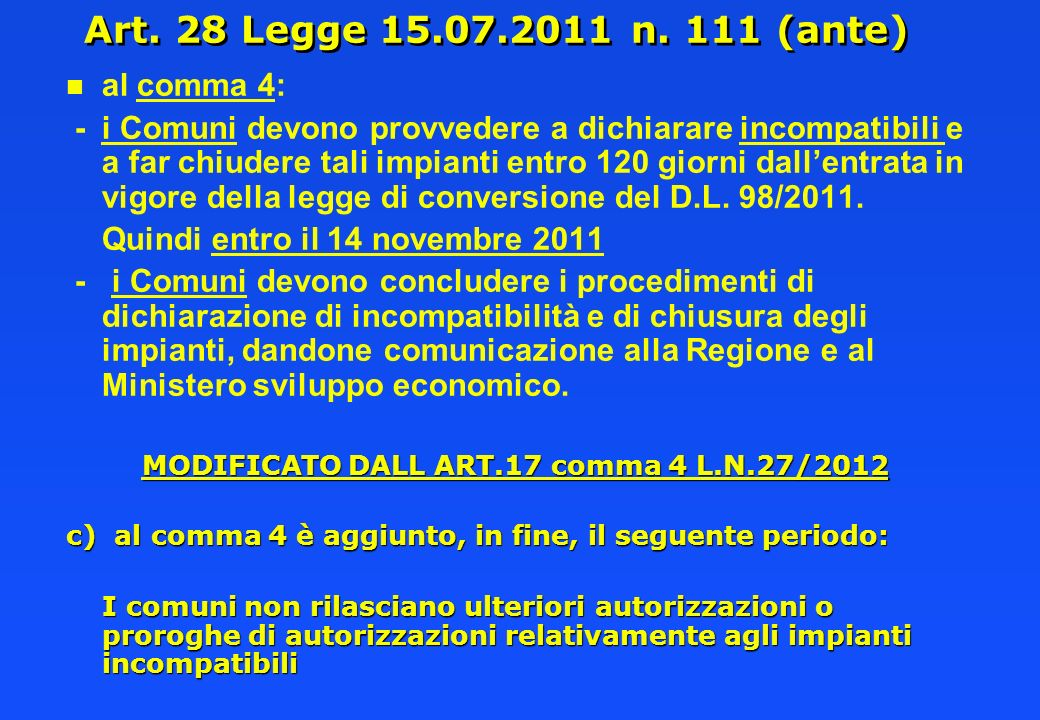 MODIFICATO DALL ART.17 comma 4 L.N.27/2012