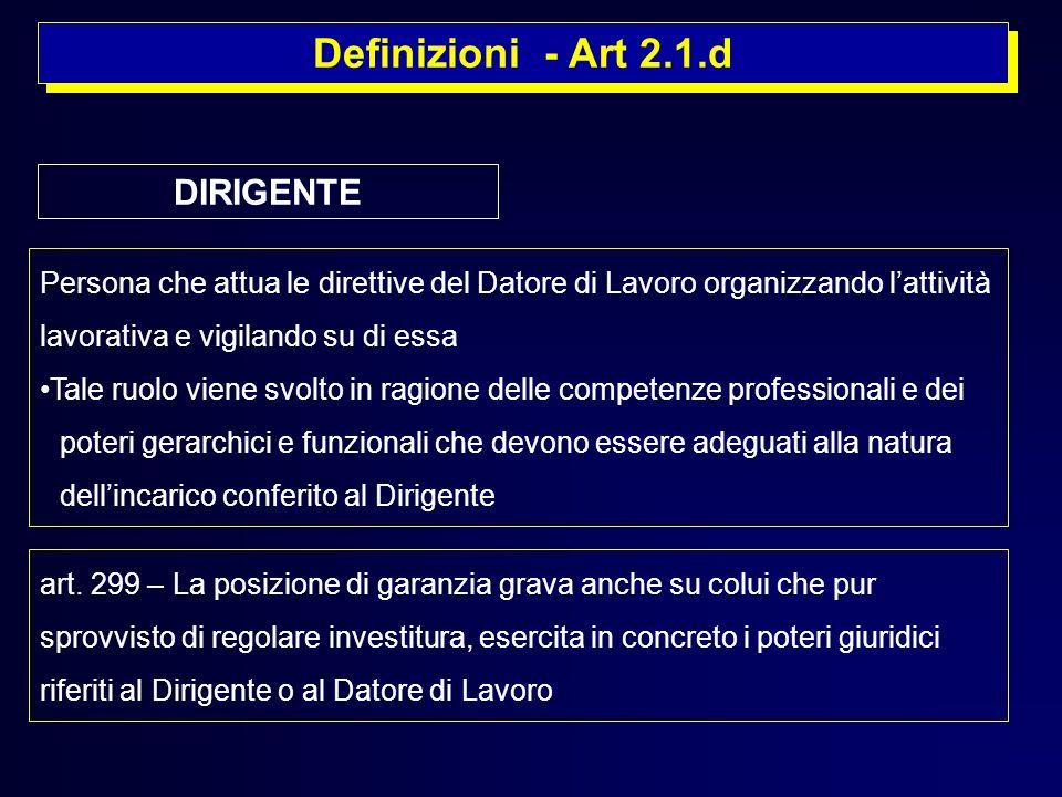 Definizioni - Art 2.1.d DIRIGENTE