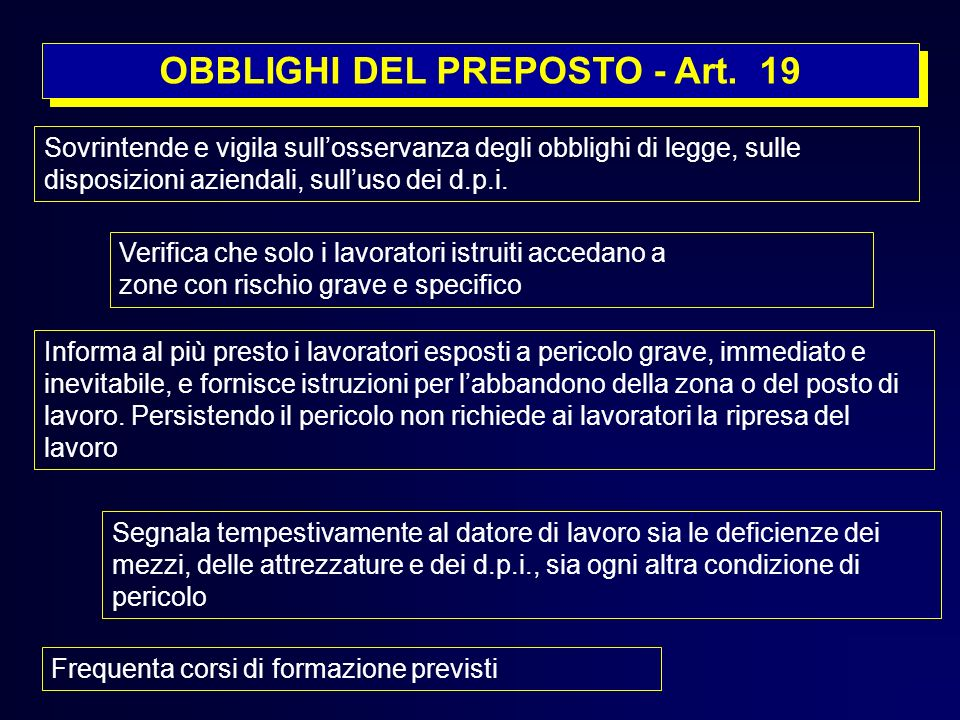 OBBLIGHI DEL PREPOSTO - Art. 19