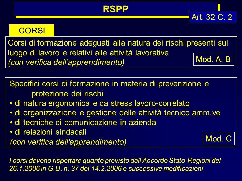 RSPP Art. 32 C. 2. CORSI. Corsi di formazione adeguati alla natura dei rischi presenti sul luogo di lavoro e relativi alle attività lavorative.