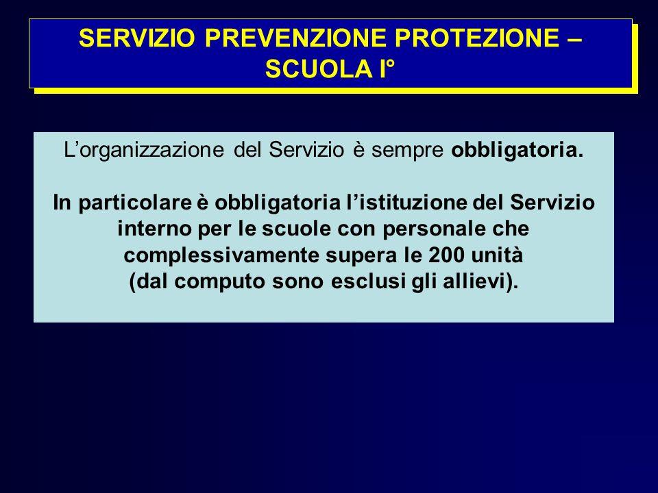 SERVIZIO PREVENZIONE PROTEZIONE – SCUOLA I°