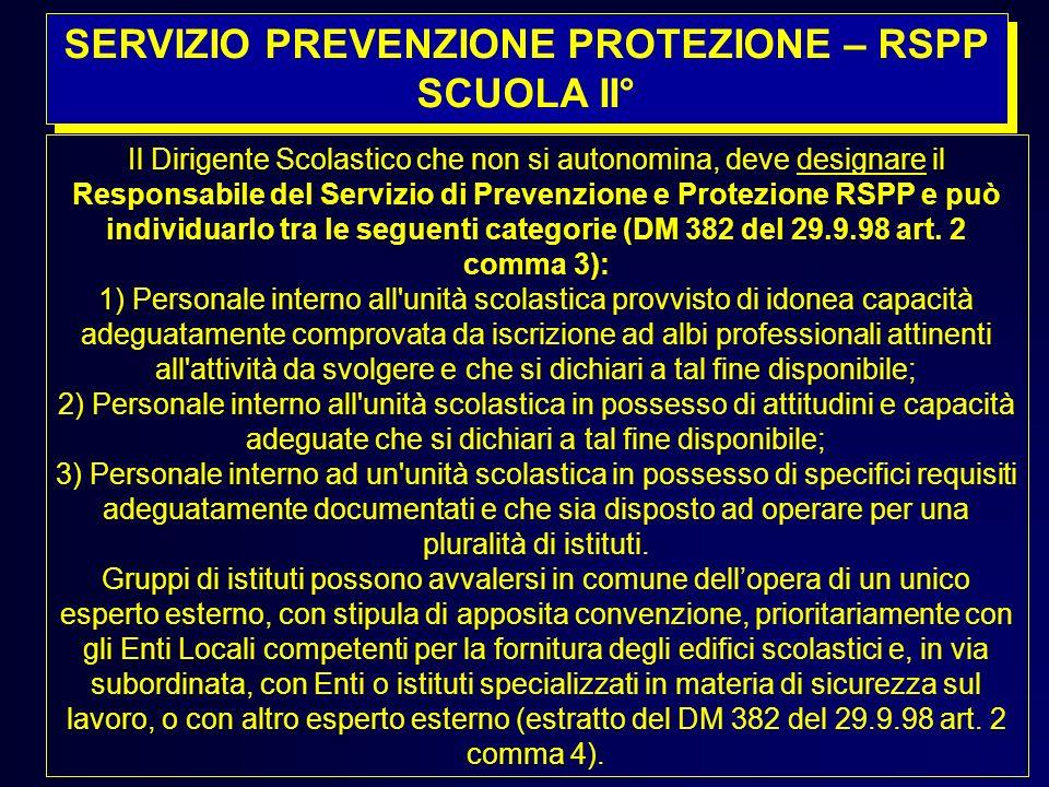 SERVIZIO PREVENZIONE PROTEZIONE – RSPP SCUOLA II°