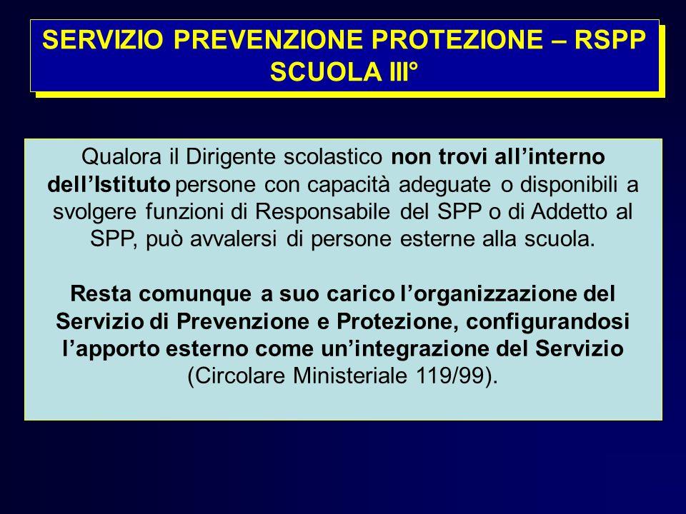 SERVIZIO PREVENZIONE PROTEZIONE – RSPP SCUOLA III°