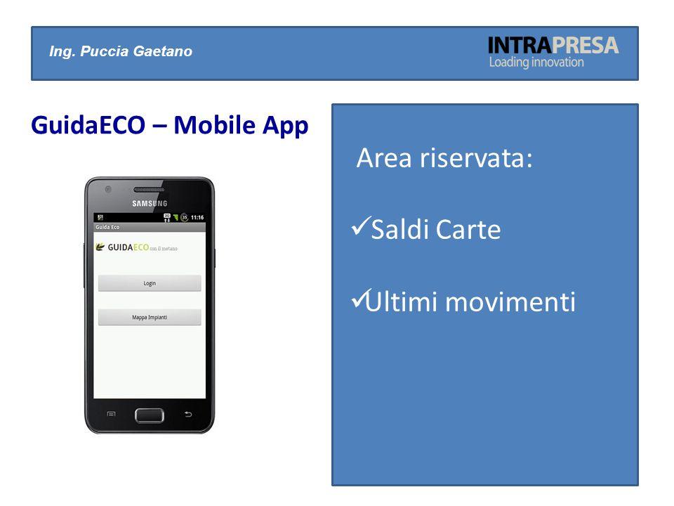 Area riservata: Saldi Carte Ultimi movimenti GuidaECO – Mobile App