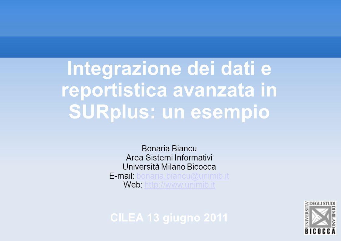 Integrazione dei dati e reportistica avanzata in SURplus: un esempio