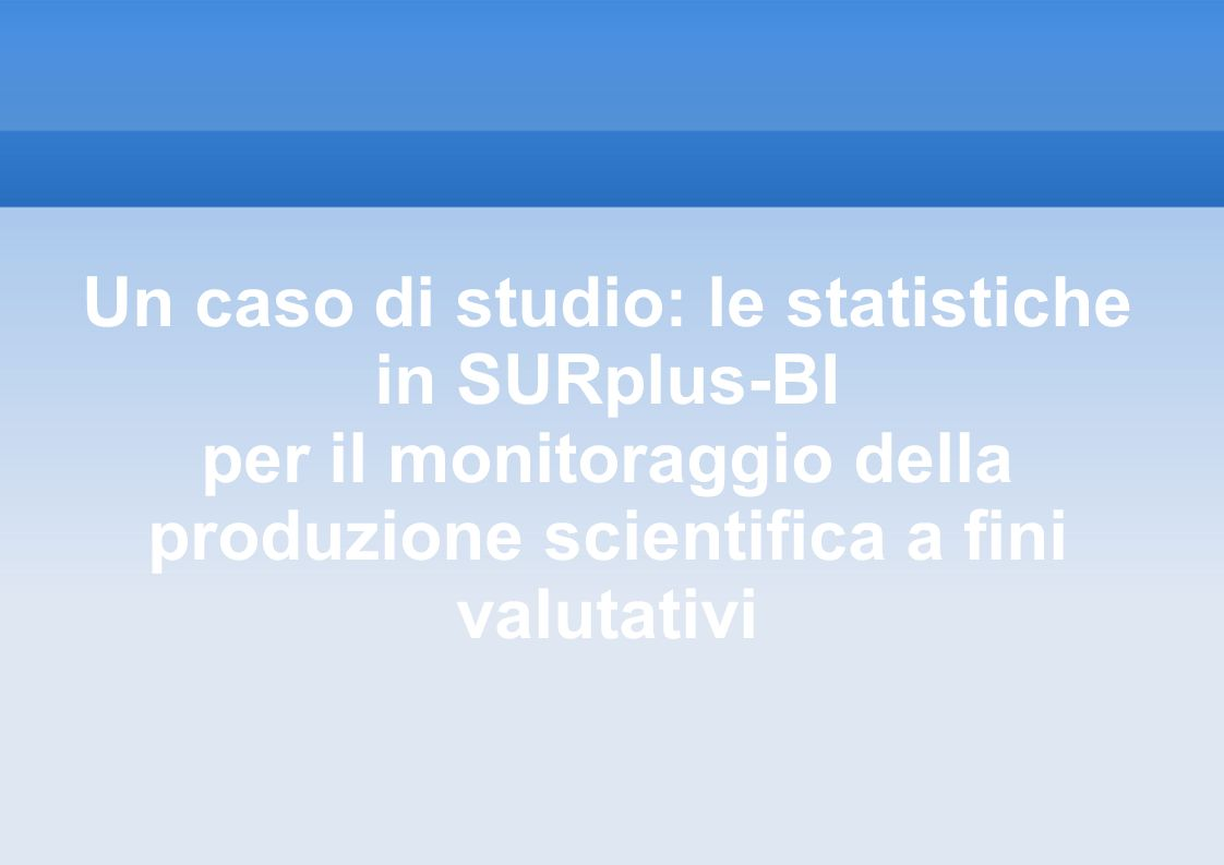 Un caso di studio: le statistiche in SURplus-BI
