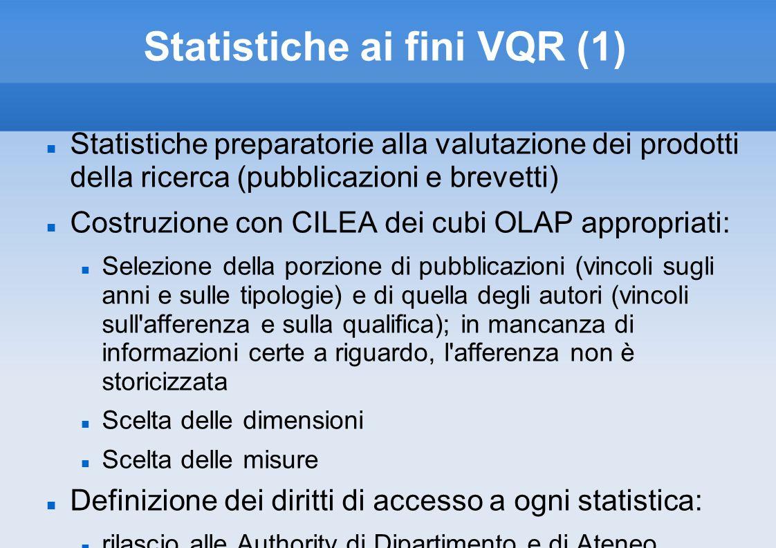 Statistiche ai fini VQR (1)