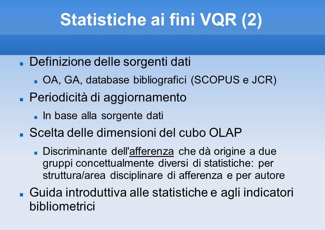 Statistiche ai fini VQR (2)