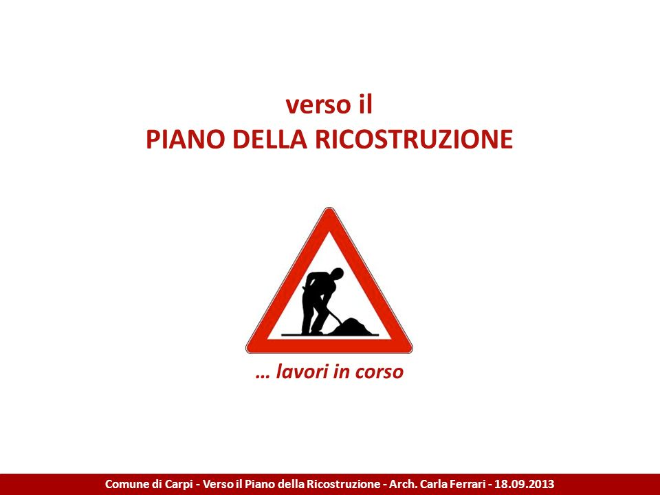 PIANO DELLA RICOSTRUZIONE