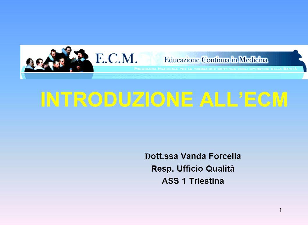 Dott.ssa Vanda Forcella Resp. Ufficio Qualità ASS 1 Triestina
